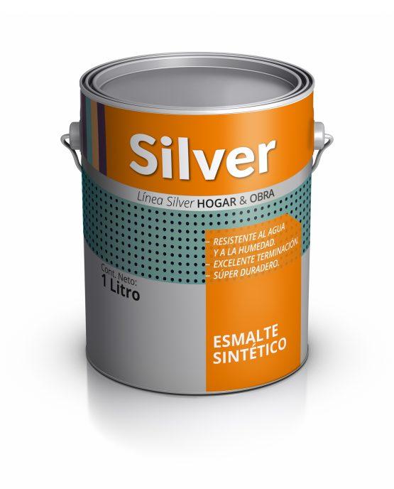 Lata de pintura esmalte sintético. Silver Pinturas.