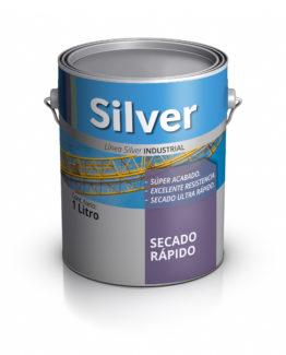 Lata de pintura de secado rápido. Silver Pinturas.